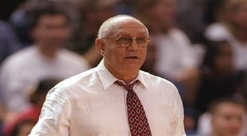 6 Feb 1997: Fresno State Bulldogs head coach Jerry Tarkanian looks on during a game against the San Jose State Spartans at the Event Center in San Jose, California. Fresno State won the game, 66-61. By Otto Greule Jr