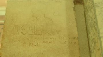 Graffiti on the Washington Monument left by Union soldiers during the Civil War. By Stephanie Baumer