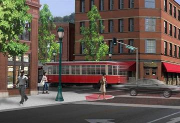 A rendering of the Loop Trolley By Stephanie Baumer