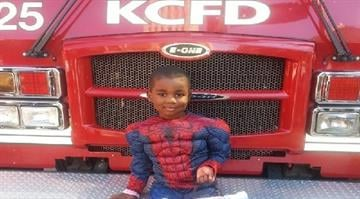 Besides Spidey, Marquan also has a thing for firefighters, donning helmets and getting photo ops every time he sees a fire truck at a city event. By KCTV