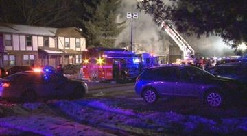 An apartment fire destroys two units in St. Peters on Thursday night. By KMOV