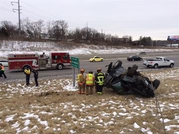 Emergency crews responded to a Range Rover which overturned on Interstate 44 early Friday afternoon. By Stephanie Baumer
