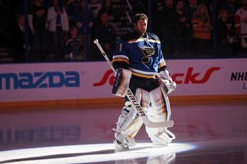 St. Louis Blues goaltender Brian Elliott stands for the National Anthem before a game against the Carl Detroit Red Wings at the Scottrade Center in St. Louis on January 15, 2015. Photo by Bill Greenblatt/UPI By BILL GREENBLATT