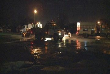 Crews work overnight to fix a water main break on South Rock Hill Road in Affton, Mo. By KMOV