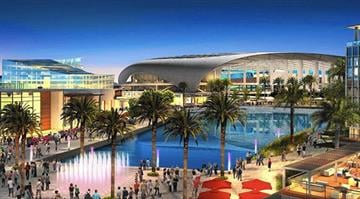 An artist's rendering shows the planned City of Champions Revitalization Project in Inglewood, where the owner of the St. Louis Rams plans to build an NFL stadium. (HKS Inc.) By Stephanie Baumer