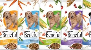 A photograph from the Purina website showing a few of the Beneful dry dog food the company makes. By Stephanie Baumer
