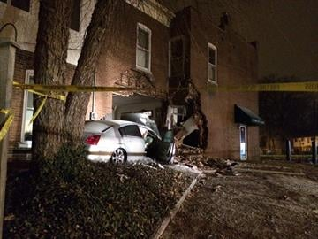 The vehicle was traveling westbound on East Main Street when it hit a corner, traffic light, another pole and ran into the building around 10:00 p.m. By Stephanie Baumer