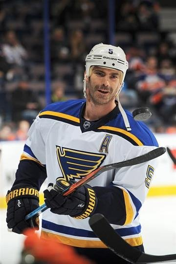 EDMONTON, AB - FEBRUARY 28: Barret Jackman #5 of the St. Louis Blues warms up prior to the game against the Edmonton Oilers on February 28, 2015 at Rexall Place in Edmonton, Alberta, Canada. (Photo by Andy Devlin/NHLI via Getty Images) By Andy Devlin