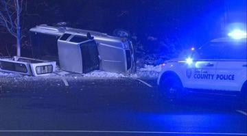 According to St. Louis County Police, a pickup truck overturned just after 12:30 a.m. at the intersection of Laclede Station and Watson Road. By Stephanie Baumer