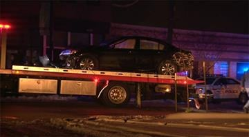 A vehicle struck a utility police, a tree and a building on Manchester Road, just east of Southwest Avenue, around 3:40 a.m. By Stephanie Baumer