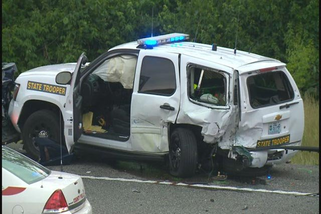 Crash scene from May 2014 of Trooper Potocki