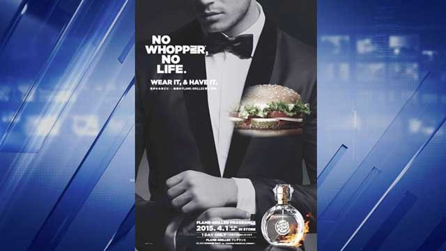 Burger King in Japan says Flame-Grilled Fragrance will only be on sale April Fool's Day
