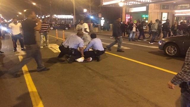 Police make an arrest on Delmar Boulevard Saturday night