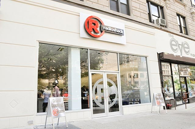 An exterior shot of a Radio Shack concept store in New York City.