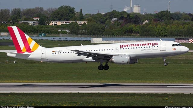 A picture of the Germanwings Airbus A320-200, tailnumber D-AIPX, that was involved in a crash in the French Alps on Tuesday, March 24, 2015. This photograph was taken April 16, 2014 in Dusseldorf, Germany.