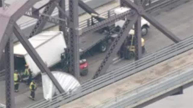 An accident involving a tractor trailer closed the McKinley Bridge Thursday morning.