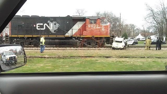 The scene of a car accident involving a train in Sparta, Illinois. Credit: Dustin Wisnasky