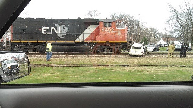 The scene of a car accident involving a train in Sparta, Illinois. Credit: Dustin Wisnasky