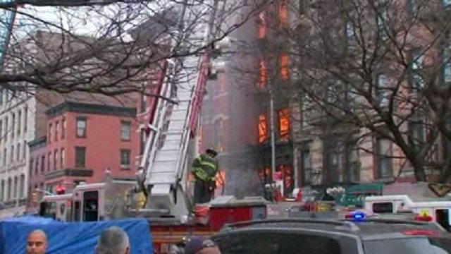The scene of a building collapse and fire in New York. (CNN)