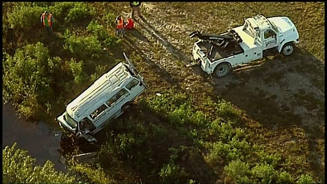 A van crash in Glades County, Florida, killed eight adults and injured 10 other people, the Florida Highway Patrol said Monday.