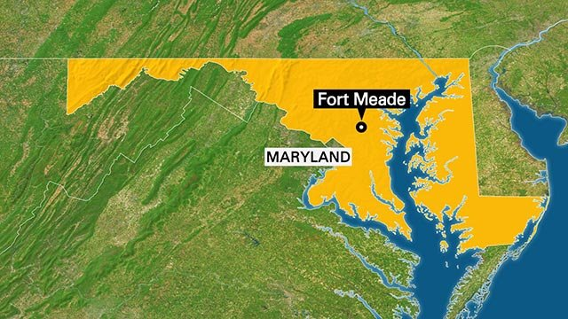 This map depicts the location of Fort Meade, where the National Security Agencey is located in the state of Maryland.