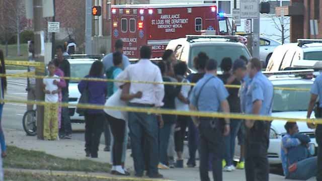 Scene of Monday night's shooting that left two dead and injured a 9-year-old girl