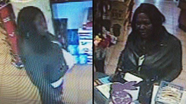 The woman seen in these surveillance photos is accused of stealing and using credit cards belonging to hospital patients.