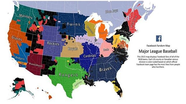 (Facebook) Facebook created a map to show where MLB teams fans are located