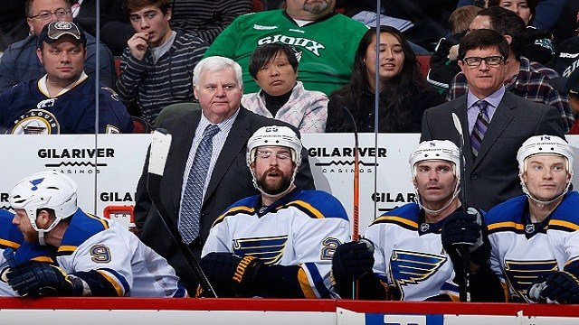 Ken Hitchcock watches from the bench during the NHL game against the Arizona Coyotes at Gila River Arena in Glendale, Arizona. (Photo by Christian Petersen/Getty Images)