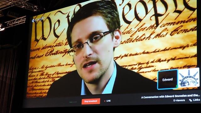 (Joshua Rubin/CNN) Edward Snowden speaks via webcam at SXSW in Austin, Texas on Monday, March 10, 2014.