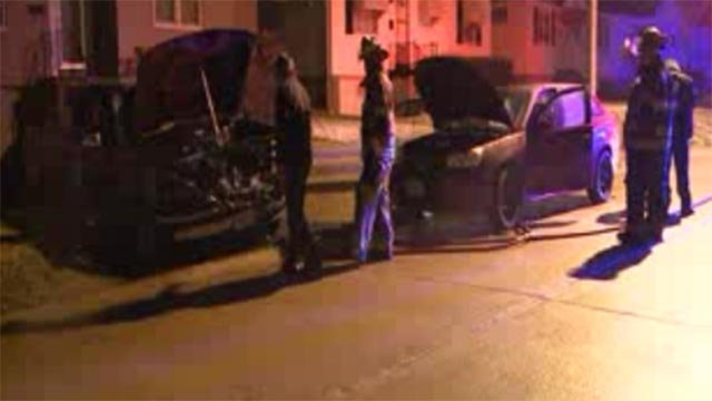 The cars caught fire in the 5600 block of Sunbury Avenue around 11:30 p.m.