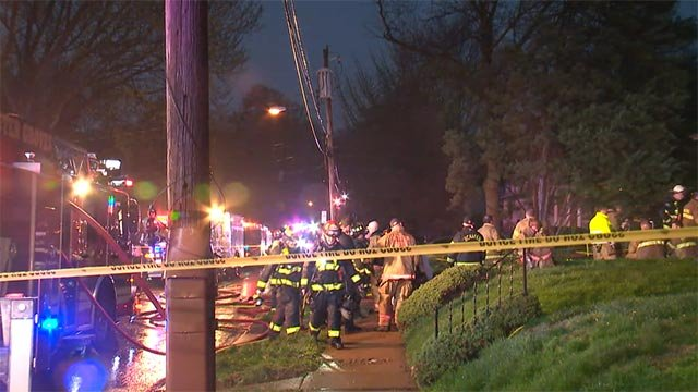 Numerous fire vehicles responded to a blaze in Webster Groves Thursday