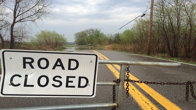 Recent rain has caused a stretch of Aubuchon Road to flood in Hazelwood. This area of the road floods frequently. Aubuchon, just east of Missouri Bottom, is closed until water levels decrease.