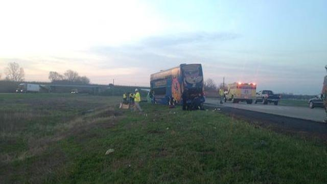 (WXIN) A Megabus crashed in Johnson County early Monday morning.