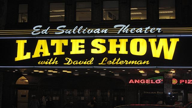(Ross Levitt/CNN) A medium shot of the Late Show with David Letterman sign
