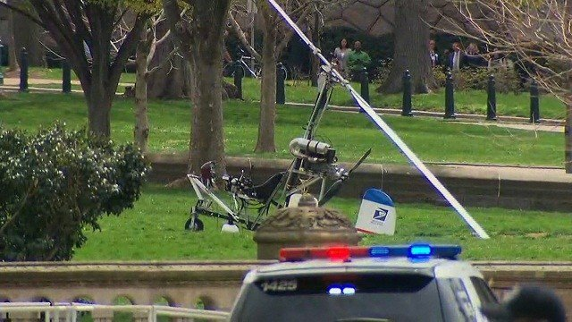 U.S. Capitol Police have converged Wednesday, April 15, 2015 on a manned aircraft that has landed on the west front of the Capitol building in Washington, D.C. Police have taken the pilot into custody.