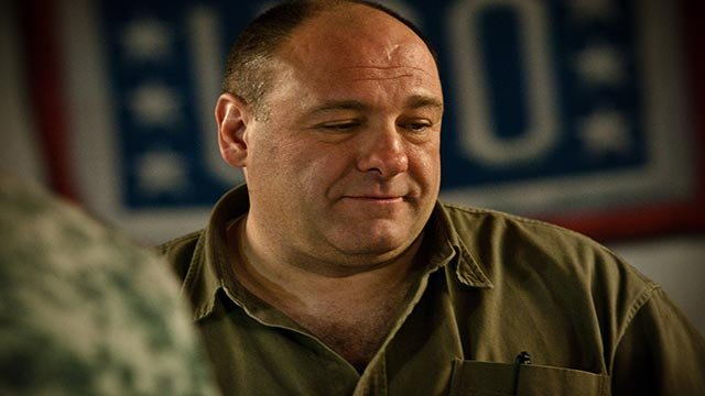 "(Source: U.S. Military/SSG Ian M. Terry)""Sopranos"" star James Gandolfini visits with service members and civilians on Kandahar Air Field, Afghanistan, March 29"
