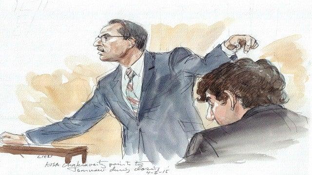Prosecutor Aloke Chakravarty points to Dzhokhar Tsarnaev during closing arguments in the Boston Marathon Bombings trial in Massachusetts on 4/6/15.