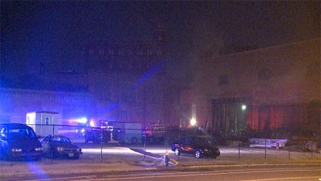 The old Lemp Brewery warehouse, located near South Broadway and Interstate 55, caught fire just after midnight.