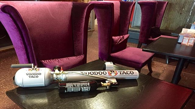 (Source: Voodoo Taco) The taco cannon will make its debut this fall at the University of Nebraska in Omaha.