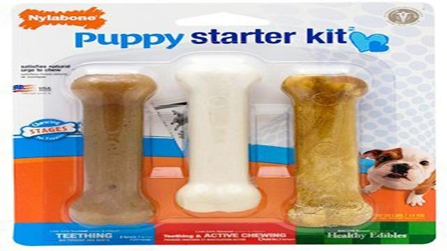 (Credit: Nylabone) Nylabone is recalling one lot of its 1.69 oz. package of the Puppy Starter Kit dog chews