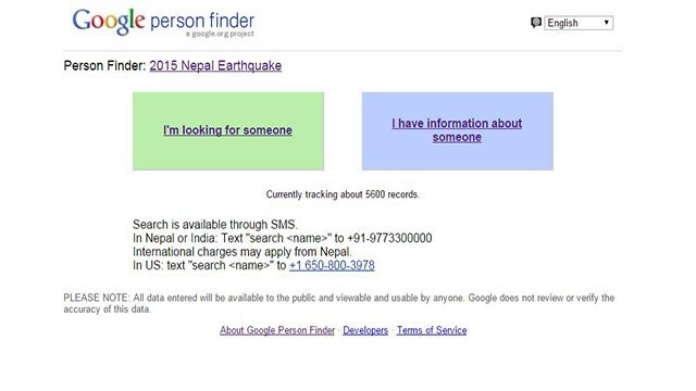 (Credit: Google) People searching for their loved ones in Nepal can turn to Google and Facebook.