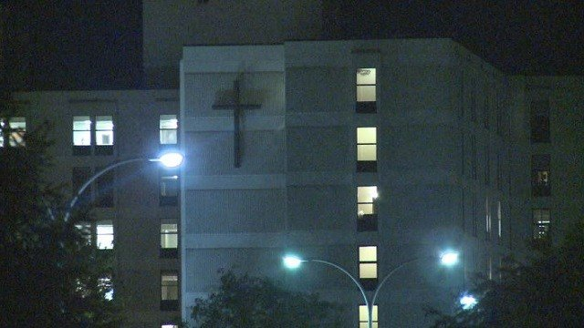 An assault on a security guard occurred at St. Anthony's Hospital overnight.