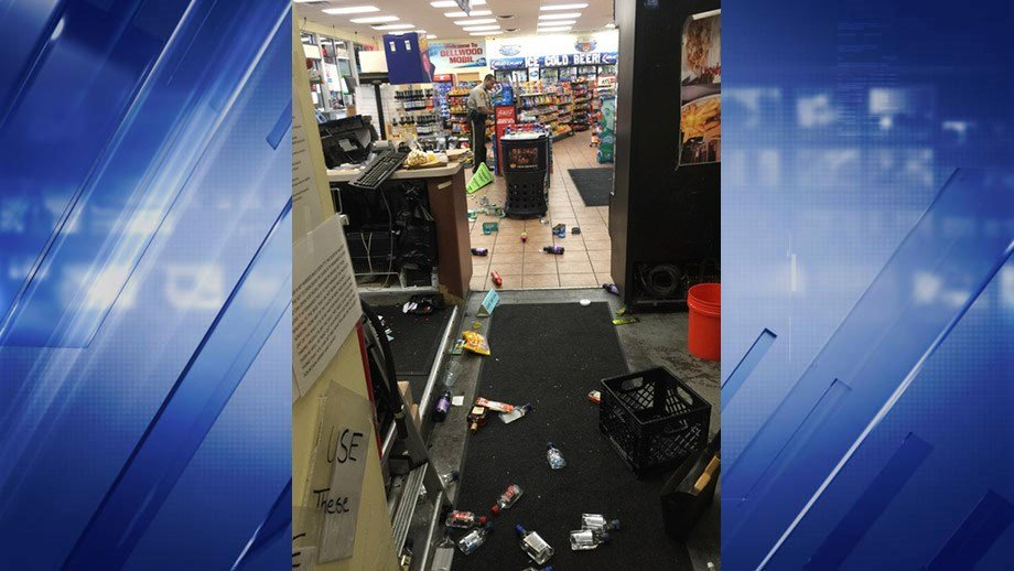 (Credit: Laura Hettiger / News 4)  A Mobil in Dellwood was looted early Wednesday morning.