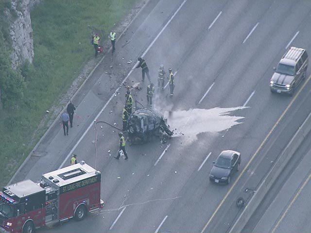 A vehicle caught fire early Thursday morning in the WB lanes of I-44