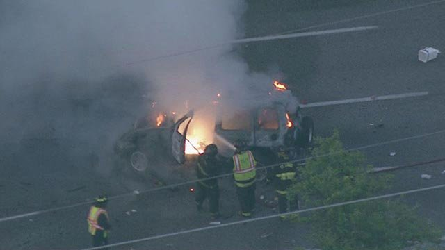 A vehicle fire closed 3 westbound lanes of I-44 Thursday