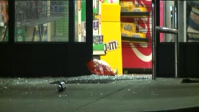 A Family Dollar store was damaged during a night of demonstrations in Ferguson