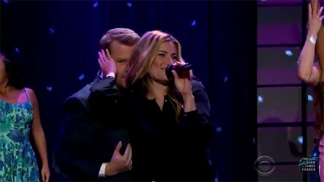 (Credit: The Late, Late Show) James Corden & Idina Menzel performed during Thursday night's show