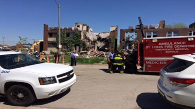 Two workers were transported after a building collapse in Midtown Friday