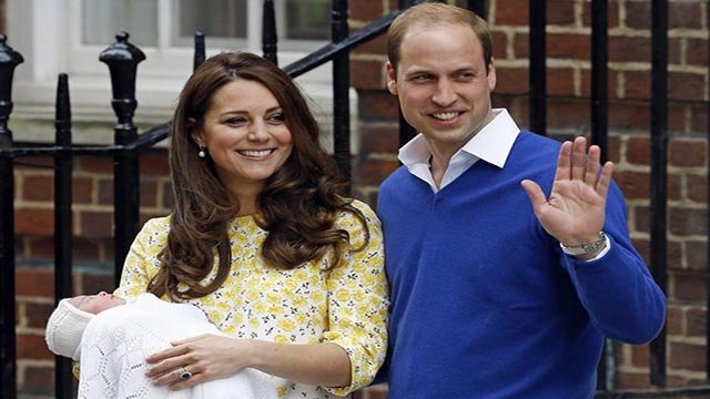 Britain's Prince William and Kate, Duchess of Cambridge and their newborn baby princess, pose for the media as they leave St. Mary's Hospital's exclusive Lindo Wing, London, Saturday, May 2, 2015. (Source: AP/Kirsty Wigglesworth)